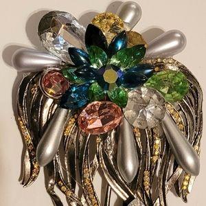 Wendy Gell Super Brooch Silver Palm Swarovski gems